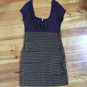 Brown Houndstooth Dress, Size Large